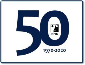 logo immagine del cinquantesimo anniversario ANS , con in primo piano il numero 50 gli anni 1970 - 2020 in alto a destra e l'icona ANS all'interno del numero zero.